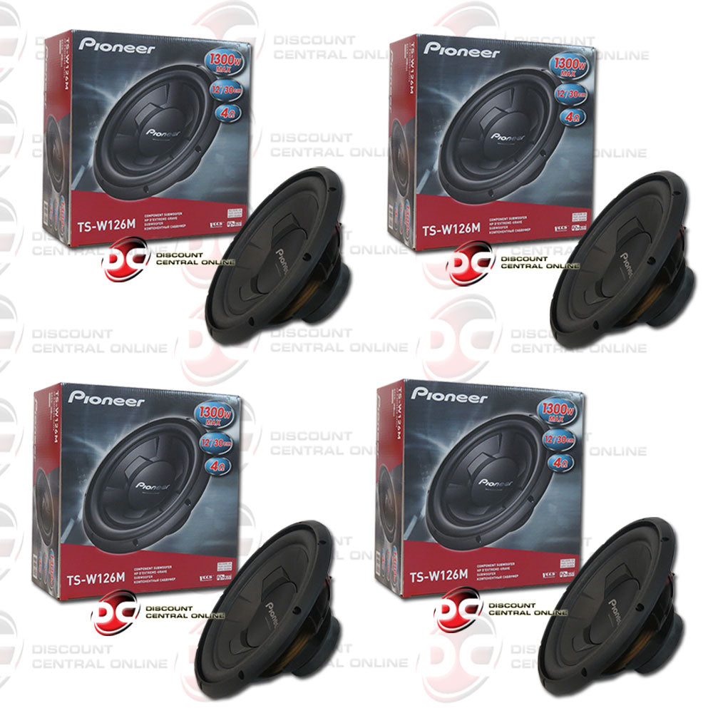 "Pioneer TS-W126M 12"" (300w RMS) Single 4-Ohm Car Audio Subwoofer (Champion Series) (2 Pairs)"