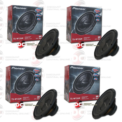 "4X PIONEER TS-W126M 12"" (300W RMS) SINGLE 4-OHM CAR AUDIO SUBWOOFER (CHAMPION SERIES)"