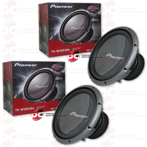 "2x Pioneer TS-W3003D4 12"" Car Audio Dual 4-Ohm Subwoofer"