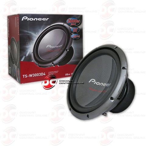 "Pioneer TS-W3003D4 12"" Car Audio Dual 4-Ohm Subwoofer"