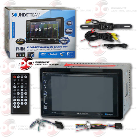 "Soundstream VR-65B 2-Din 6.2"" Car AM/FM/CD/DVD Receiver with Bluetooth Stereo and USB Input (With Back-up Camera)"
