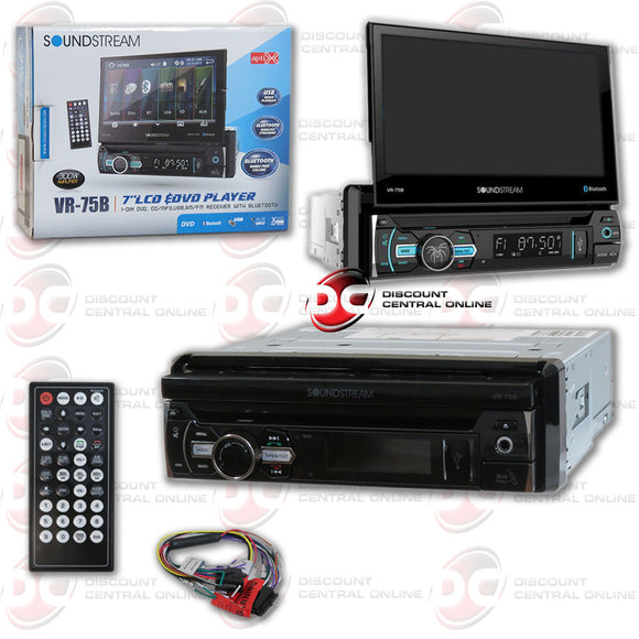 "SOUNDSTREAM VR-75B  7"" TOUCHSCREEN 1-DIN W/ DVD, CD/MP3, AM/FM RECEIVER & BLUETOOTH"