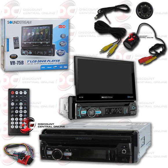 "SOUNDSTREAM VR-75B  1-DIN 7"" DVD CD CAR STEREO WITH BLUETOOTH (WITH BACK-UP CAMERA)"