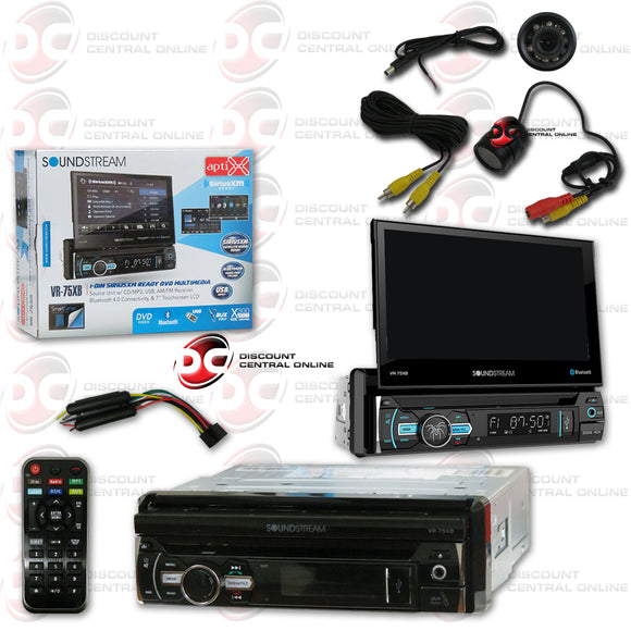 "SOUNDSTREAM VR-75XB 1-DIN 7"" MOTORIZED DVD CD CAR STEREO SIRIUSXM READY WITH BLUETOOTH (WITH BACK-UP CAMERA)"