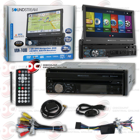 "Soundstream 1DIN VRN-74HB 7"" Car GPS DVD CD Receiver MobileLink X2 with Bluetooth"
