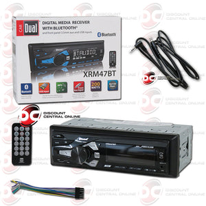 Dual XRM47BT 1-Din Car Digital Media Stereo AM/FM With Bluetooth Plus IBA-3.5mm AUX Cord