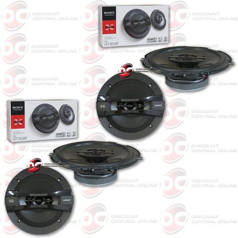 "4 X SONY XS-GT1638F 6-1/2"" CAR AUDIO SPEAKERS"