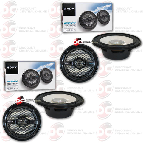 "4 x Sony XS-MP1611B 6.5"" Dual Cone Marine Speakers (Black)"