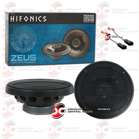 "Hifonics ZS653 6.5"" 3-way Car Audio Coaxial Speakers Zeus Plus Speaker Harness"