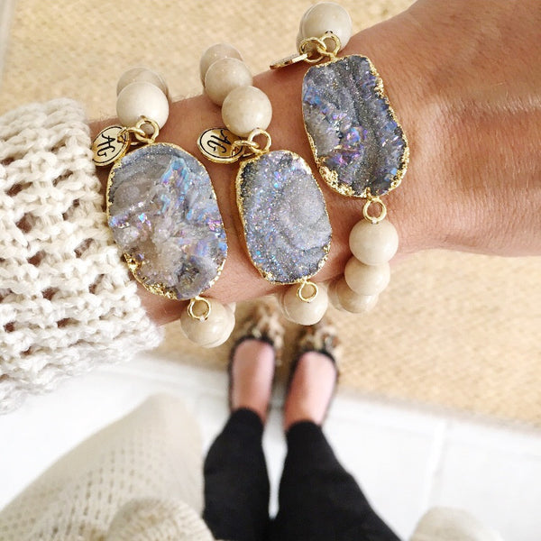 Smoky Gray Druzy Stretch Bracelet
