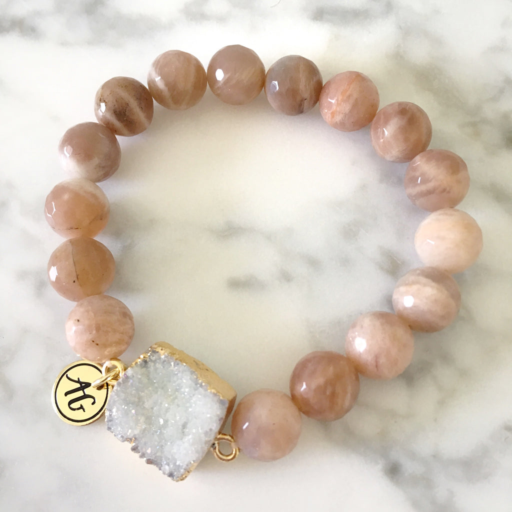 NEW! Sunstone Druzy Stretch Bracelet