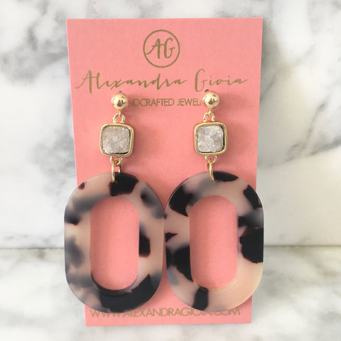 Tortoise Shell + Druzy Statement Earrings
