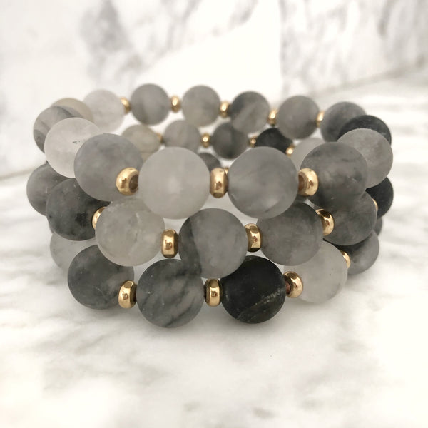Stackable Bracelet | Cloudy Quartz