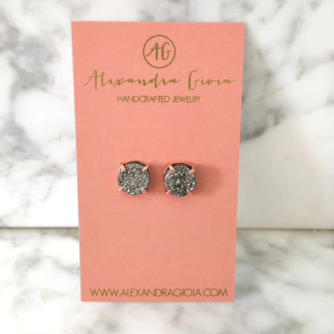 Silver + Rose Gold Druzy Stud Earrings