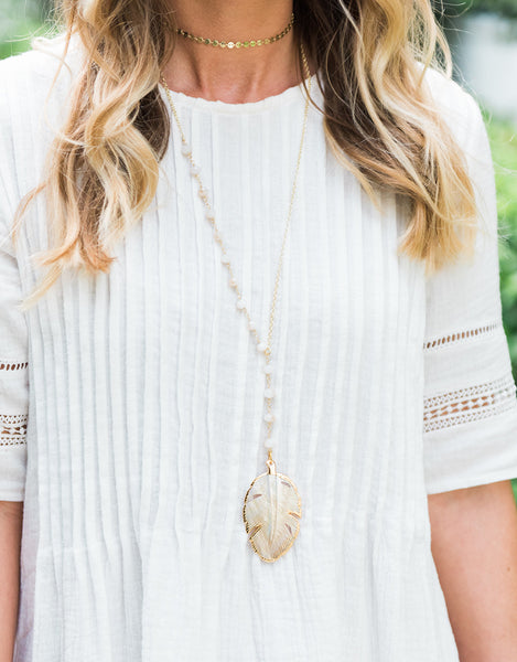 Palm Leaf Lariat Necklace