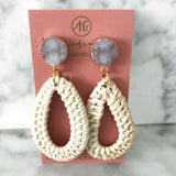 alexandra gioia rattan and druzy statement earrings