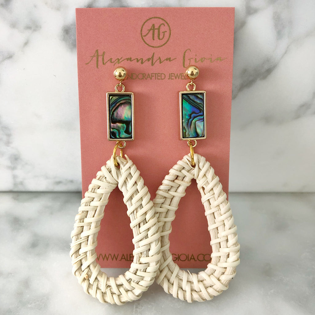 NEW! Sophie Rattan Earring {abalone}