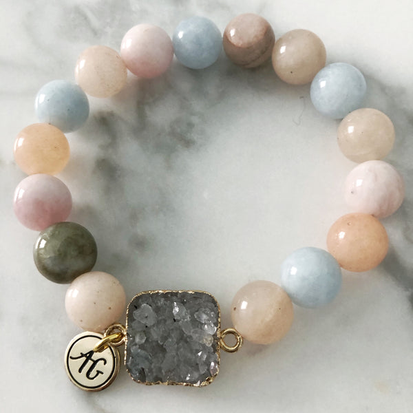 Morganite + Druzy Stretch Bracelet