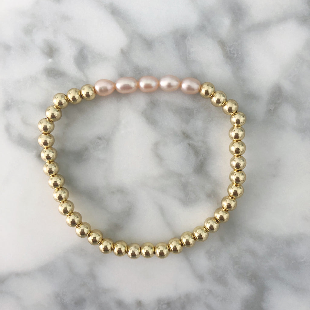 Pearl + Gold Ball Beaded Stackable Bracelet