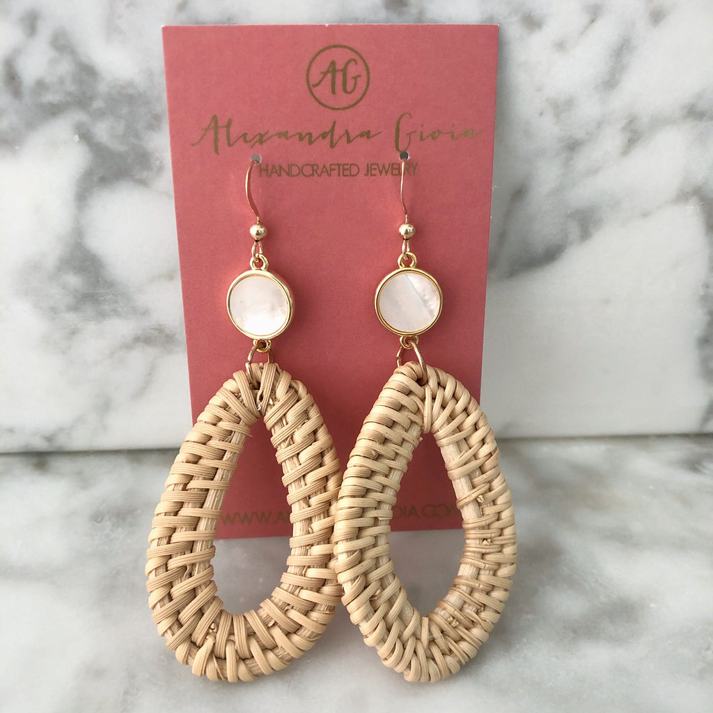 Sophie Rattan Earring {mother of pearl}