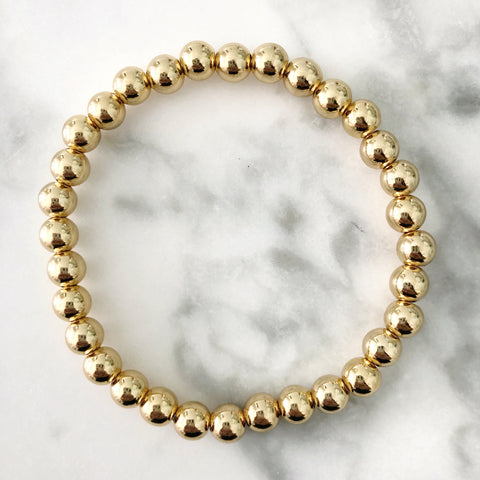 6MM Gold Ball Beaded Stackable Bracelet