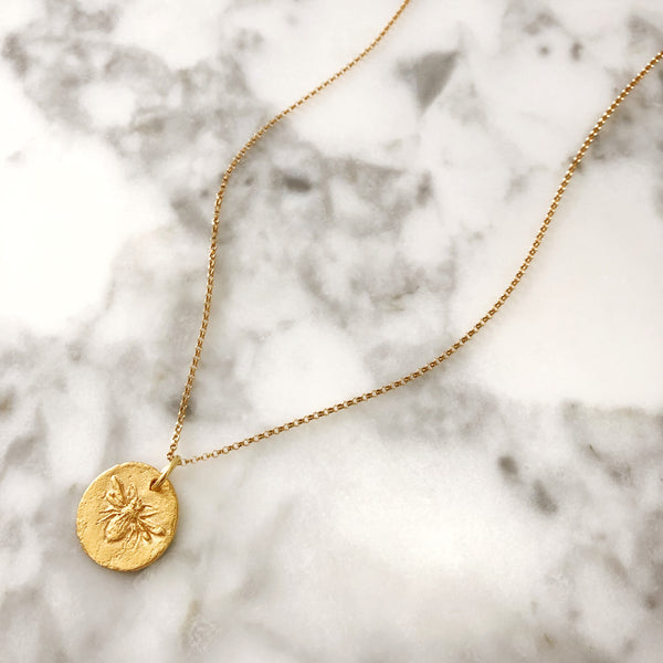 Adjustable Bee Coin Necklace