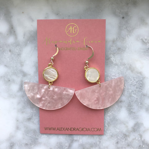 NEW! Blush Half Moon Earrings