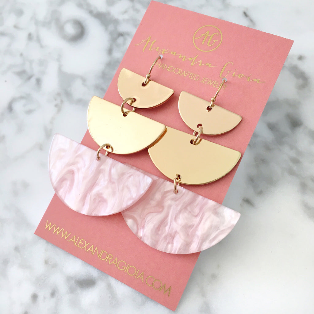 Blush + Gold Geometric Drop Earrings