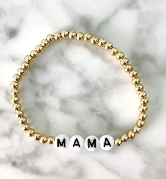 "AG Word Bracelet ""MAMA"" {Gold Ball Beading}"
