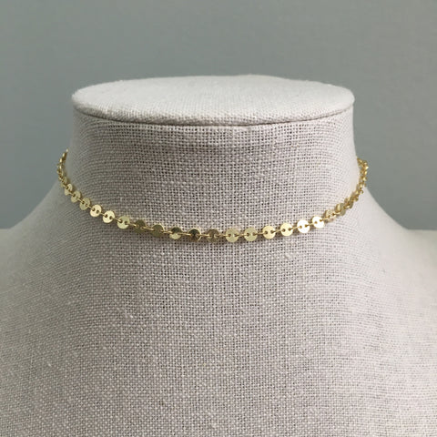 Dainty Disk Choker Necklace