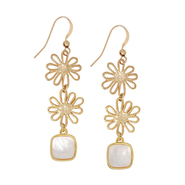 Floral + Mother of Pearl Drop Earrings