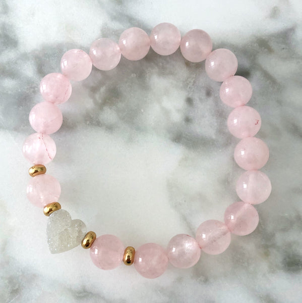 {Kid's Size} White Druzy Heart Stretch Bracelet