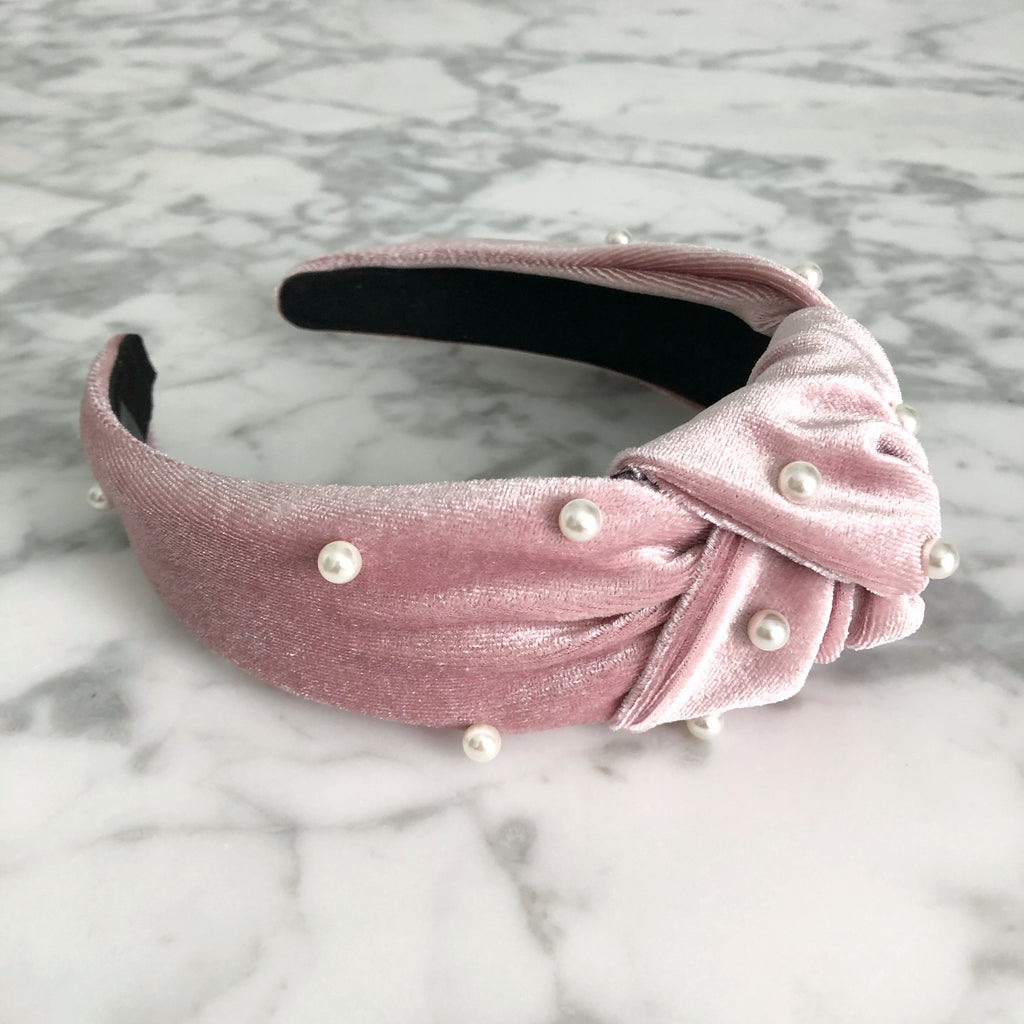 Knotted Headband | Velvet + Pearls