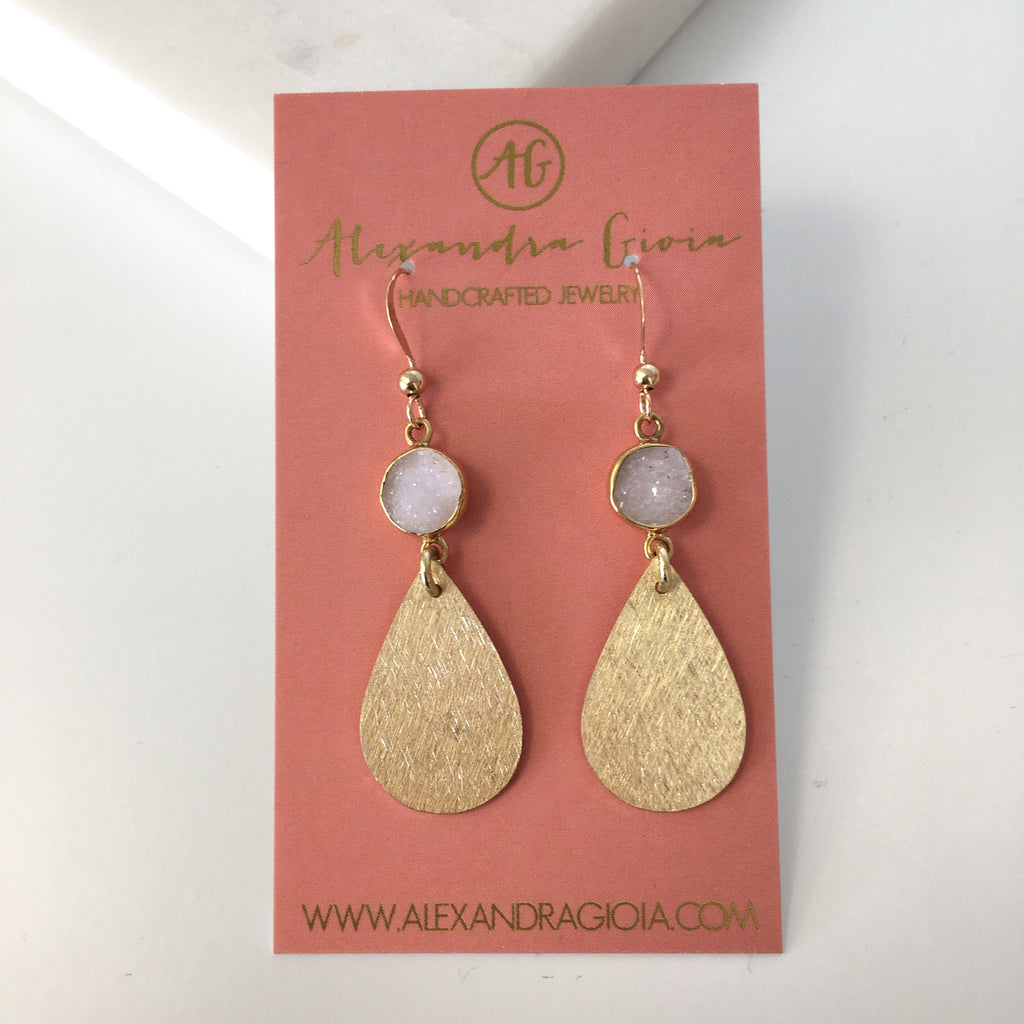 alexandra gioia gold filled blush druzy teardrop dainty earring