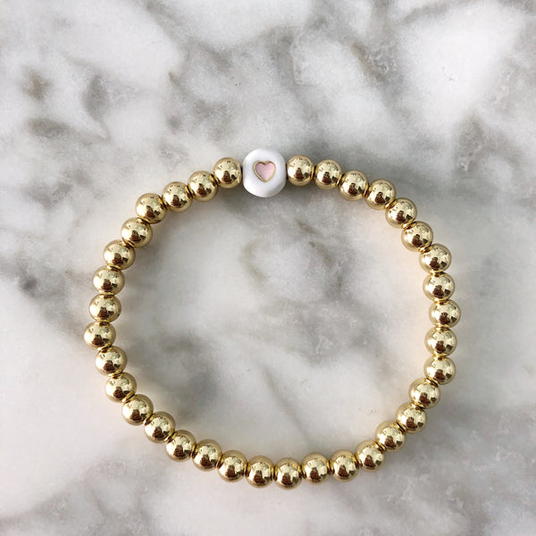 {Kid's Size} Blush Heart + Gold Ball Beaded Stackable Bracelet