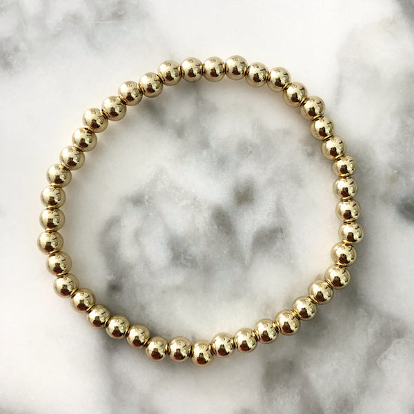 NEW! 4MM Gold Ball Beaded Stackable Bracelet