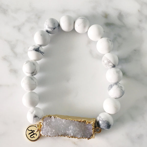 White Druzy Bar Stretch Bracelet