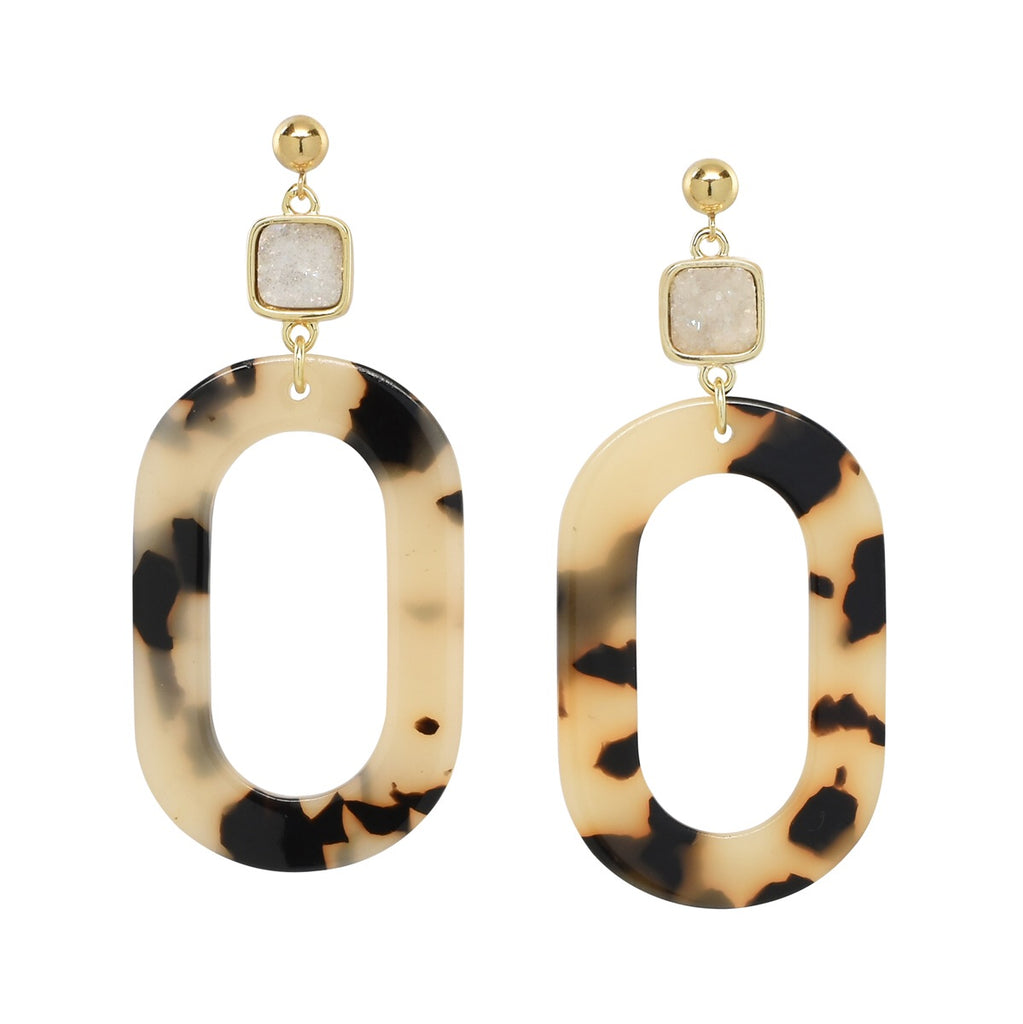 BEST SELLER! Tortoise Shell + Druzy Statement Earrings