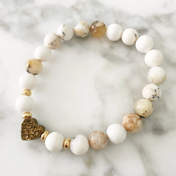 PRE ORDER! NEW! Gold Druzy Heart Stretch Bracelet