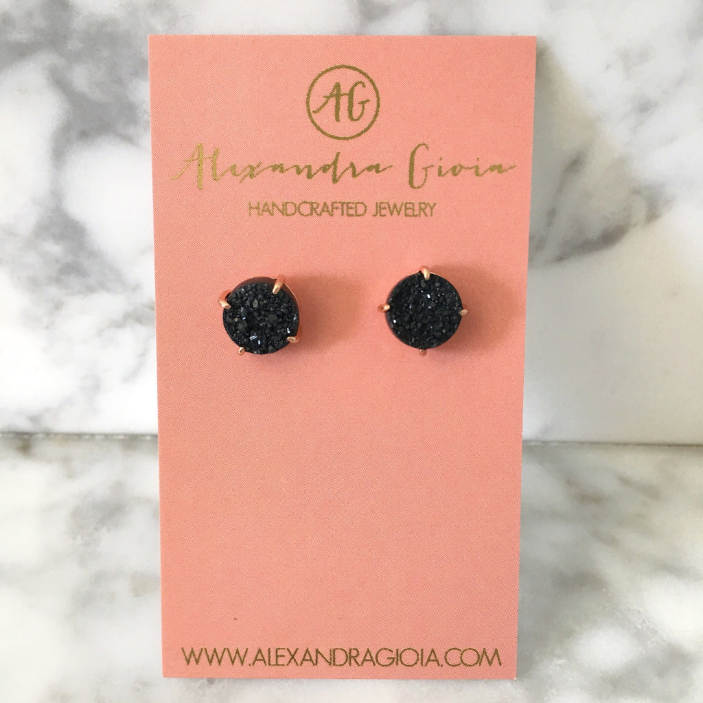 Black + Rose Gold Druzy Stud Earrings