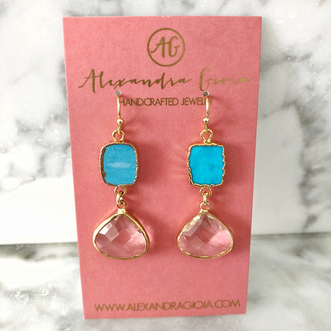 Turquoise + Crystal Earrings