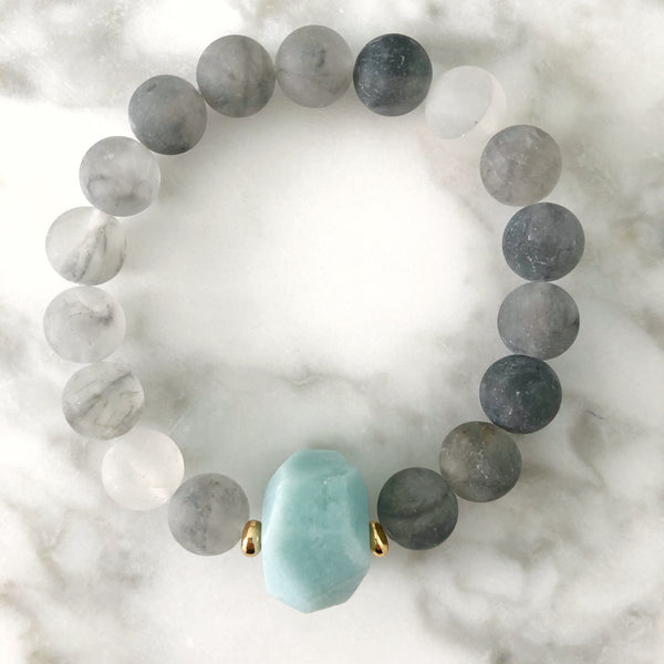 Amazonite + Cloudy Quartz Stretch Bracelet