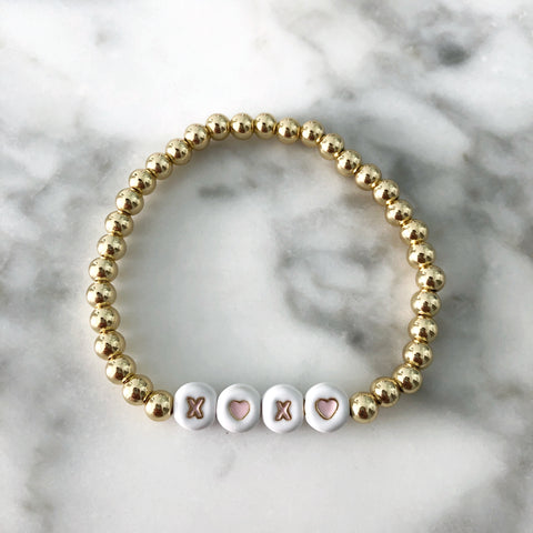 XOXO + Gold Ball Beaded Stackable Bracelet