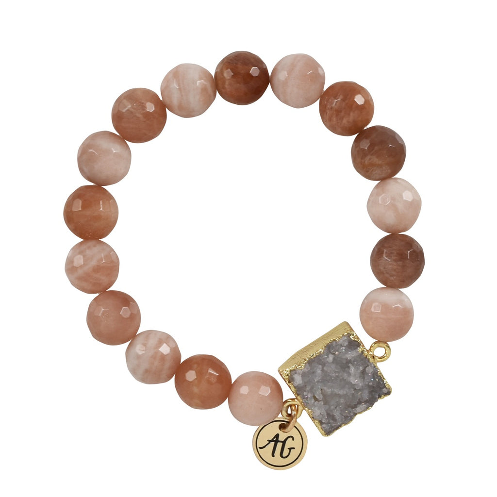Sunstone Druzy Stretch Bracelet