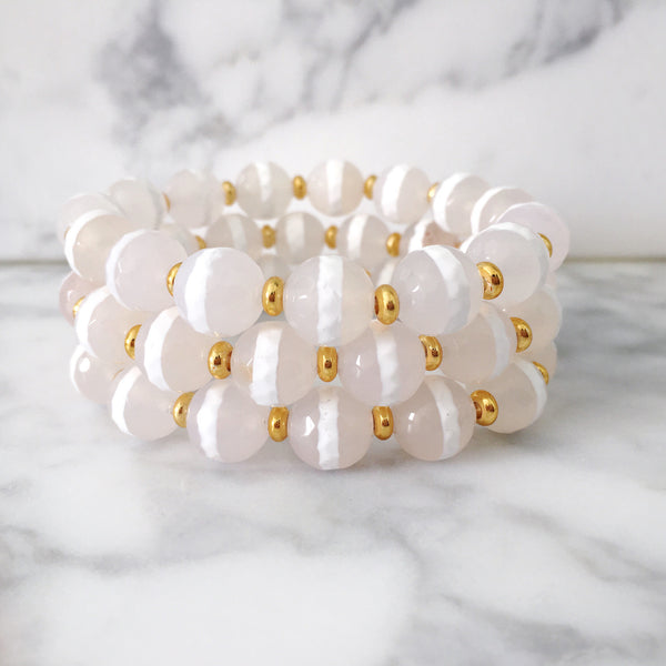 Stackable Bracelet | White Stripe Agate