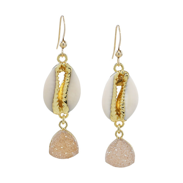 NEW! Cowrie Shell + Druzy Earrings