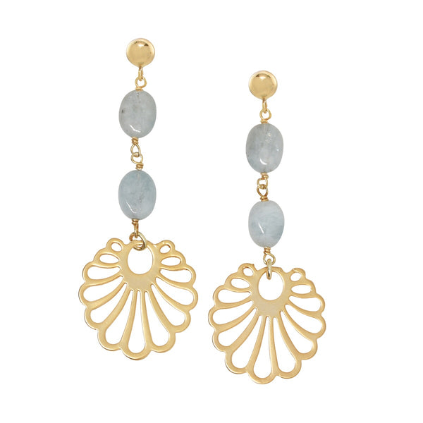 Art Deco Shell Earrings {aquamarine}