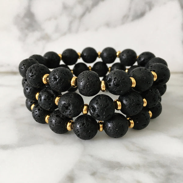 Stackable Bracelet | Lava Stone