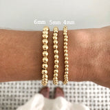Dainty Pearl + Gold Ball Beaded Stackable Bracelet