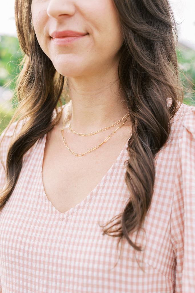 Gold Filled Paper Clip Necklace